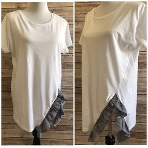 Zara White Black Check Ruffle Shirt